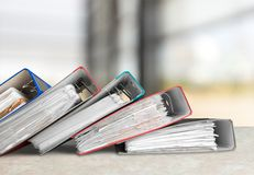 Ring Binders. Authority File Research Document Binders Stack stock photo
