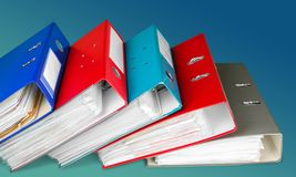 Ring Binders. Authority File Research Document Binders Stack stock photos