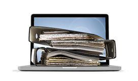 Ring binders on computer Royalty Free Stock Images