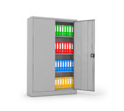 Ring binders and folders in metal cases. On a white background. 3D illustration vector illustration