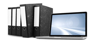 Ring binders and laptop Royalty Free Stock Photo