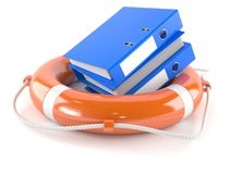 Ring binders with life buoy. Isolated on white background Stock Photo