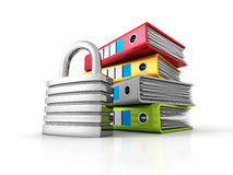 Ring Binders With Metallic Padlock. Document Data Protection. 3d Render Illustration Royalty Free Stock Photo