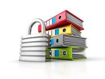 Ring Binders With Metallic Padlock Protection des données de document illustration stock