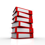 Ring binders 3. Was placed on top of the world of work and education, and a wide angle was used in the red folders Stock Image