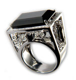 Ring with black stone. Platinum Ring with Black Stone and Diamonds Royalty Free Stock Photo