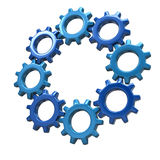 Ring of blue gears Royalty Free Stock Photo