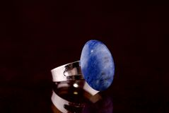 Ring with blue stone Royalty Free Stock Image
