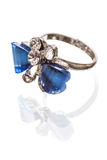 Ring with a blue stone Royalty Free Stock Images