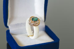 Ring with a blue stone in box Stock Photo