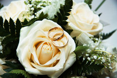Ring on the bouquet. Ring on the wedding bouquet Royalty Free Stock Image