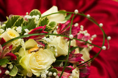 Ring on bouquet. Royalty Free Stock Photos