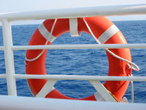 Ring bouy. On sea background Royalty Free Stock Photography