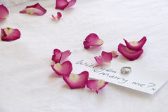 Ring box. A pink ring box and diamond engagement ring are nestled amongst scattered pink rose petals royalty free stock image