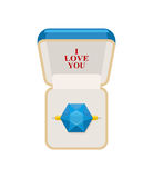 Ring in  box. Jewelry for weddings and engagements. I love you. Royalty Free Stock Photography
