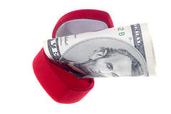 Ring box and money Royalty Free Stock Images