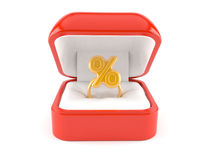 Ring box with percent symbol Stock Photography