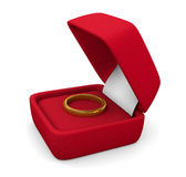 Ring in box. Wedding ring in box on white background Stock Image