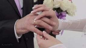 Ring bride groom dresses, rings, close-up, wedding stock video footage