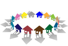 Ring of brightly colored house symbols stock illustration