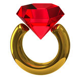 Ring with brilliant. 3d illustration of ring with brilliant isolated on white background Royalty Free Stock Photo