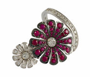 Ring with brilliants and rubies Royalty Free Stock Photos