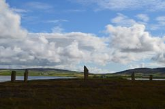 Neolithic Ring of Brodgar in the island of Mainland island, Orkney archipelago, Scotland royalty free stock photo