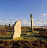 Neolithic stone circle and henge. Ring Of Brodgar, Orkney, Scotland. A neolithic stone circle and henge which is part of The Heart of Neolithic Orkney World Royalty Free Stock Images