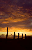 Ring of Brodgar, Orkneys, Scotland. Ancient ruins of Ring of Brodgar, Orkneys, Scotland at sunset stock images