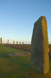 Ring of Brodgar, Orkneys, Scotland. Ancient ruins of Ring of Brodgar at sunrise, Orkneys, Scotland stock photo