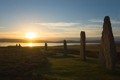 Ring of Brodgar, Orkneys, Scotland. Ancient ruins of Ring of Brodgar at sunrise, Orkneys, Scotland stock photography