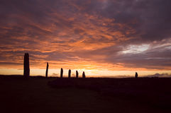 Ring of Brodgar, Orkneys, Scotland. Ancient ruins of Ring of Brodgar at sunset, Orkneys, Scotland royalty free stock photography