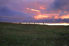 Ring of Brodgar, Orkneys, Scotland. Ancient ruins of Ring of Brodgar at sunset, Orkneys, Scotland stock photo