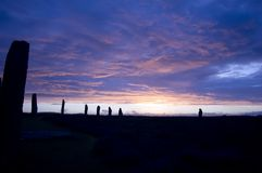 Ring of Brodgar, Orkneys, Scotland. Ring of Brodgar at sunset, Orkney, Scotland stock photo