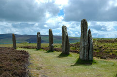 The Ring of Brodgar - Standing stones - Orkney, Scotland, UK. The Ring of Brodgar - Five Standing stones with dramatic sky in the background - Orkney, Scotland Royalty Free Stock Photography