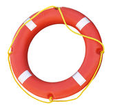 Ring buoy. Red ring buoy with yellow rope. Clipping path stock images