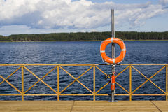 Ring Buoy On The Berth Royalty Free Stock Image
