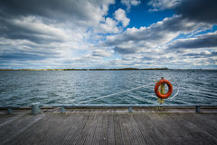 A ring buoy and walkway along Lake Ontario, at the Harbourfront,. In Toronto, Ontario Stock Photo