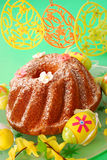 Ring cake on easter table Royalty Free Stock Photo