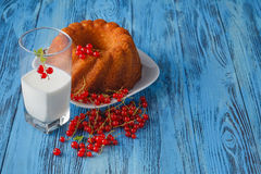 Ring cake with icing sugar, currants and milk Royalty Free Stock Image