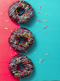 Ring cake. Three ringcake qt the colorful background Stock Photo