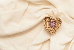 Ring in cardboard box in the form of heart Royalty Free Stock Image