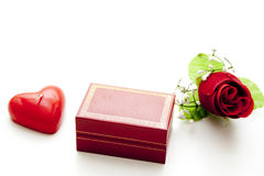 Ring casket with heart candle Royalty Free Stock Photo
