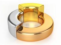 Ring Chart (oro, argento, bronzo) Fotografia Stock