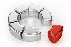 Ring Chart (With Red Piece). On White Background royalty free illustration