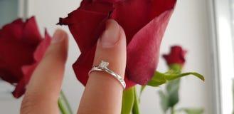 Ring with clear diamond on female finger inside rosebud stock photo