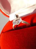 Ring close-up. Beautiful ring in beautiful velvet boll close-up Stock Image