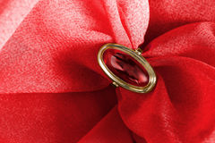 Ring on cloth Royalty Free Stock Photography