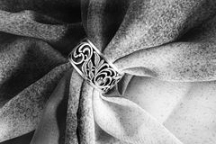 Ring on cloth Royalty Free Stock Images