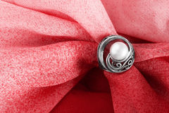 Ring on cloth Stock Photo